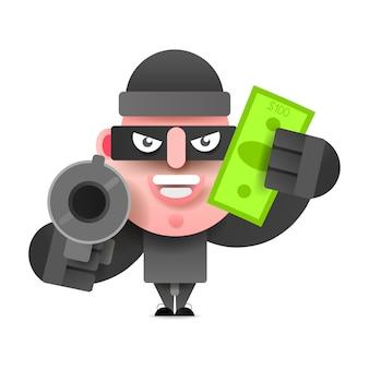 検察から実行されているお金の袋を持つ泥棒