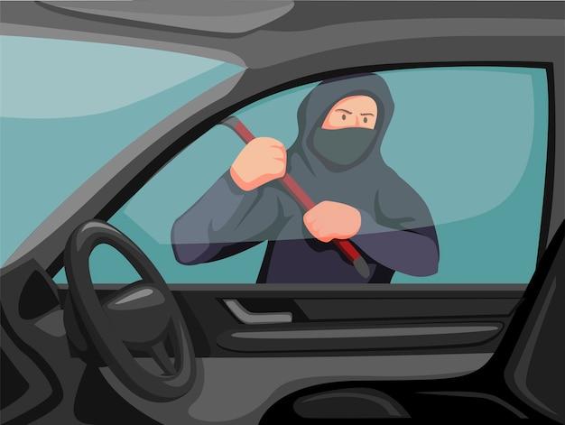 Вор держит лом, пытаясь разбить окно автомобиля. место преступления угоня концепцию автомобиля в иллюстрации шаржа