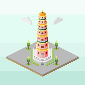 Thien mu pagoda of vietnam in isometric