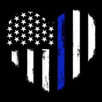 Thin blue line flag, police hearth symbol, illustration police hearth
