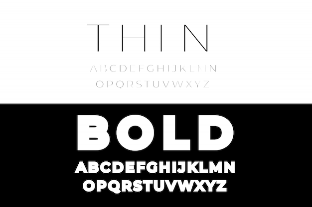 Thin and bold font