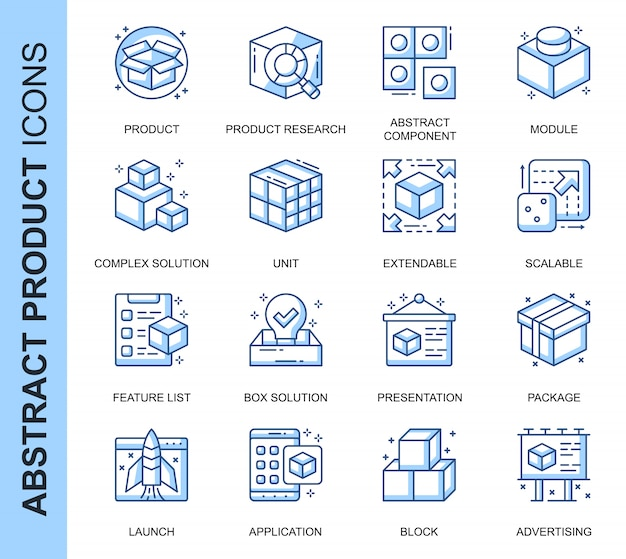 Thin line abstract product related icons set