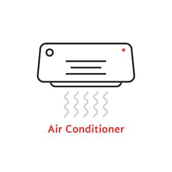 Тонкая линия значок кондиционера. понятие цельсия, свежести, холода, замораживания, ионизатора, тепла. плоский контур стиль тенденции современный кондиционер логотип дизайн векторные иллюстрации на белом фоне