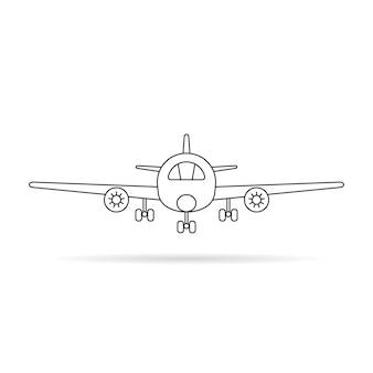 影付きの細い線の飛行機のアイコン。航海、パイロット、旅行、コックピット、車両、エアバス、クルーズ、航空運賃の概念。白い背景で隔離。線形スタイルのトレンドモダンなロゴデザインベクトルイラスト