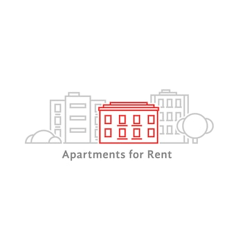 Аренда квартир тонкой линии. концепция жилой этикетки, панорама таунхауса, резиденция, офисный горизонт, отель. плоский стиль линии тренд современный графический дизайн векторные иллюстрации на белом фоне