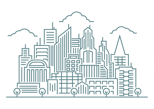 Thin line art vector illustration of modern big city background