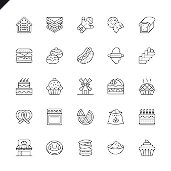 Thin line bakery shop elements icons set