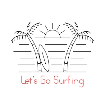 Thin line beach with surfboard. concept of seashore, sunshine, lifestyle, diving, hippie culture, island. isolated on white background. linear style trend modern logo design vector illustration