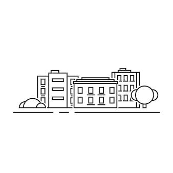 Тонкая линия черных жилых домов. концепция жилой этикетки, панорама таунхауса, резиденция, офисный горизонт. плоский стиль линии тренд современный графический дизайн векторные иллюстрации на белом фоне