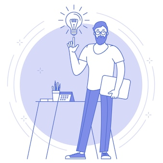 큰 사무실 시계 앞에 서있는 젊은 남자와 밝은 아이디어, 창의적 및 비즈니스 솔루션의 얇은 선 파란색 아이콘.