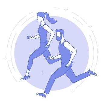 若い走っている男性と女性の細い線の青いアイコン。