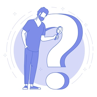 Thin line blue icon of young man with magnifier and question mark.