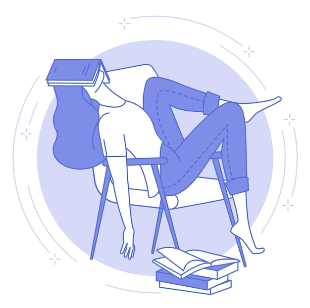 Thin line blue icon of of young woman sleeping with open book, student or night work, tiredness.