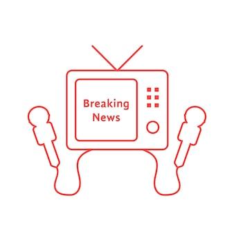 赤いテレビアイコンと細い線のニュース速報。エンターテインメント、スタジオ、ニュースキャスト、パパラッチ、ホームシネマ、情報の概念。フラットスタイルのトレンドモダンなロゴデザインベクトルイラスト白地に