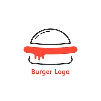 赤いソースの細い線のハンバーガーのロゴ。料理バッジ、不健康なジャンクフード、スライス、ソーセージ、サービングの概念。フラットスタイルのトレンドモダンなブランドのグラフィックデザインの白い背景のベクトル図