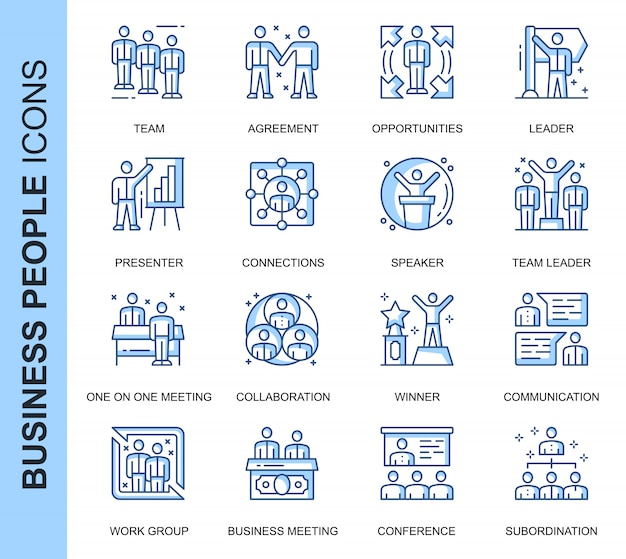 Thin line business people related icons set