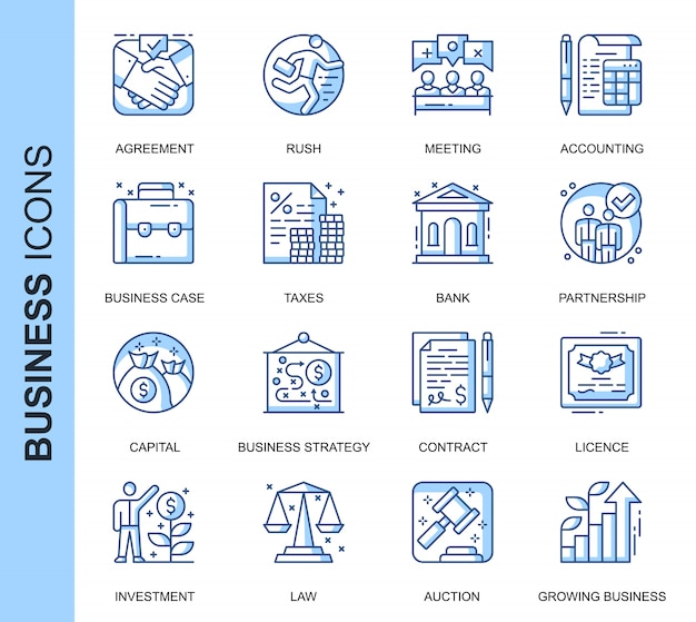 Thin line business related icons set