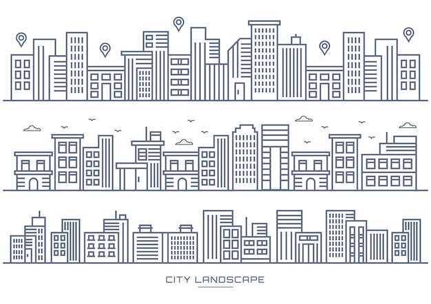Thin line city and city location