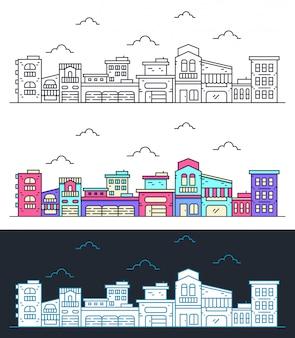 Thin line city landscape