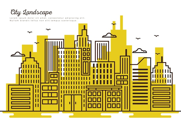 Thin line city with yellow background