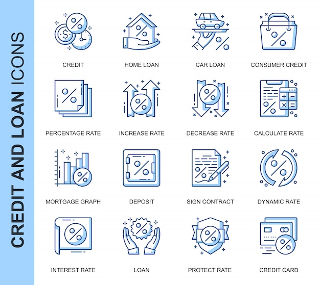 Thin line credit and loan related icons set
