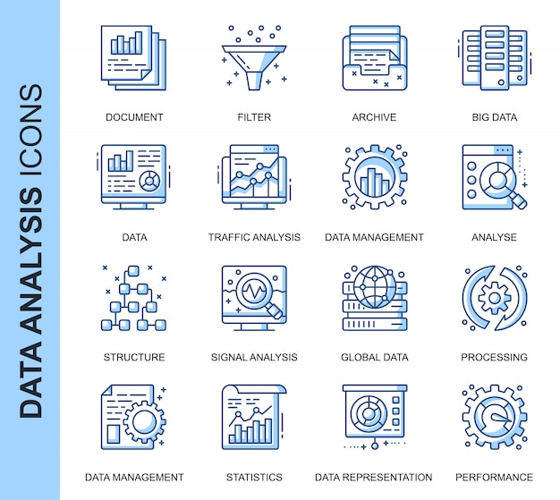 Thin line data analysis related icons set