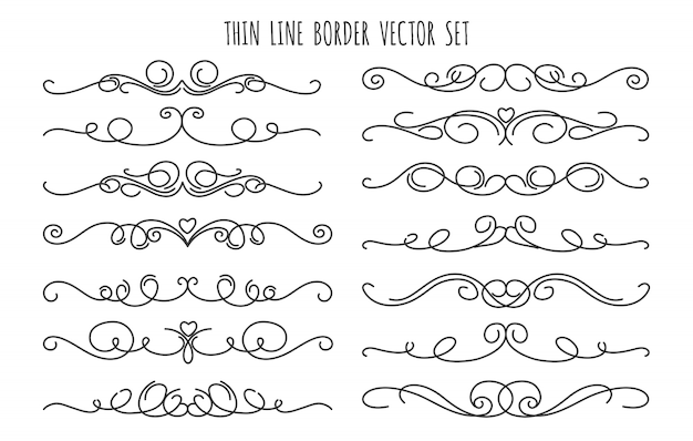 Thin line decoration dividers set