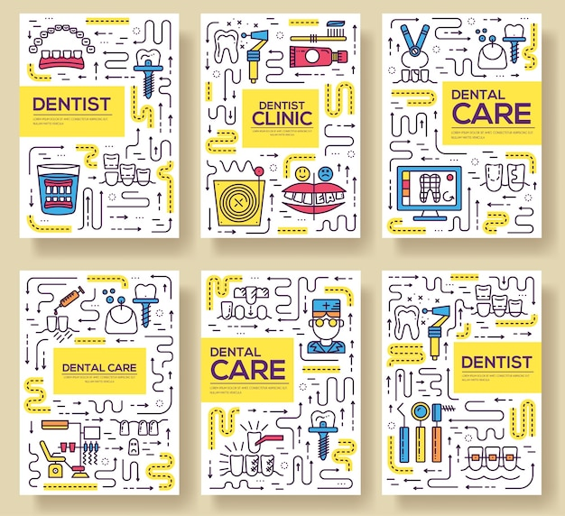 Thin line dentist clinic baking cards set. dent instruments template of flyear, book cover, banners.