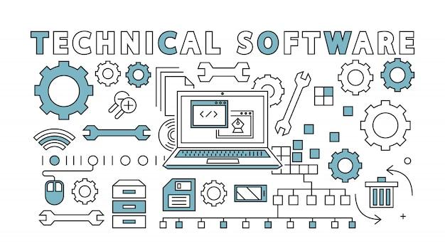Thin line design. technical software concept. flat doodle illustration