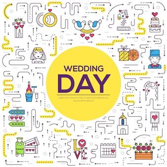 Тонкая линия различных украшений и еды для концепции свадебной церемонии