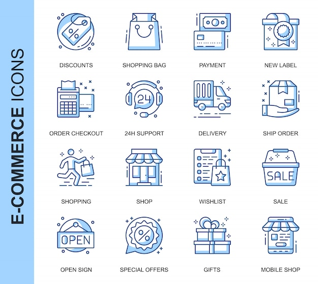 Thin line e-commerce related icons set