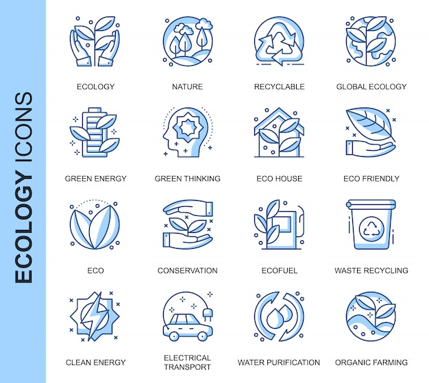 Thin line ecology related icons set
