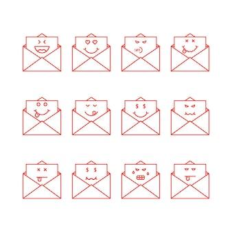 細い線の絵文字はメッセージを文字で設定します。メールボックスの概念、簡単なチャット、食通のヤム、ユーモア、悲しい、満足、憎しみ、退屈、怒り、死んだ。白い背景の上のフラットスタイルのトレンドモダンなロゴタイプのグラフィックデザイン