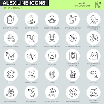 Thin line environment, renewable energy technology icons set