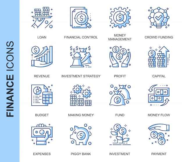 Thin line finance related icons set