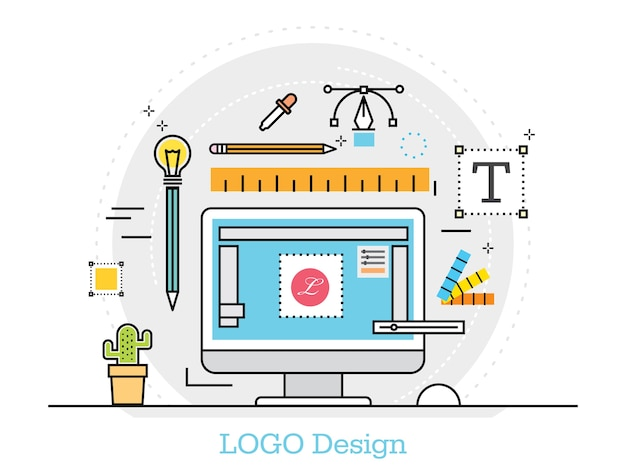 Thin line flat design concept for design logo studio