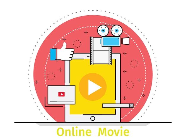 온라인 교육의 얇은 선 평면 디자인 컨셉