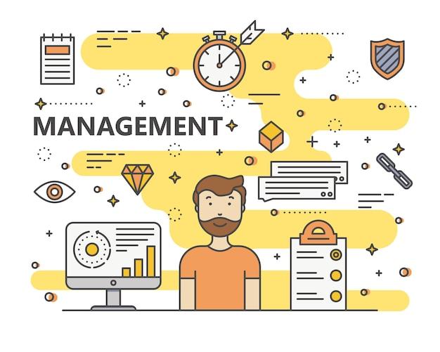 Thin line flat design management concept illustration