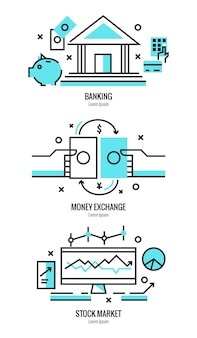 Thin line flat design of online banking services