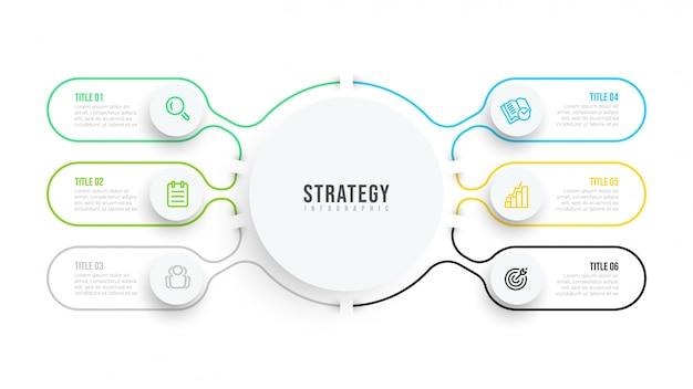 Тонкая линия плоский инфографики шаблон. дизайн визуализации бизнес-данных с иконками и 6 опциями или шагами.