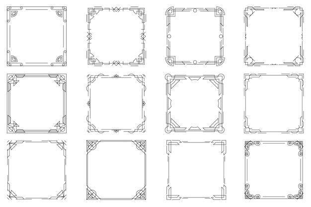 Thin line geometric frames, linear frames.