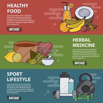 Thin line  horizontal banners of healthy food, herbal medicine and sport lifestyle. business concept of alternative medicine and healthcare, naturopathy, homeopathy, bio and eco food.