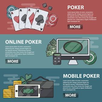 온라인 및 모바일 포커의 얇은 라인 가로 배너. 카지노, 도박 및 돈 게임의 비즈니스 개념. 포커 요소의 집합입니다.