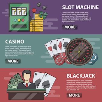 スロットマシン、カジノ、ブラックジャックの細い線の水平方向のバナー。マネーゲーム、ポーカー、オンラインギャンブル、情熱のビジネスコンセプト。カジノ要素のセットです。