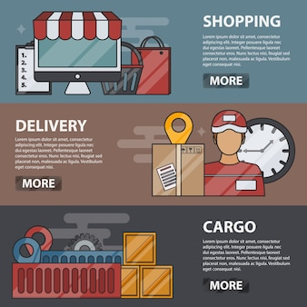 Thin line  horizontal banners of shopping, delivery and cargo. business concept of logistics, transportation, e-commerce and online marketing. set of delivery elements.