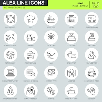 Thin line hotel services icons set
