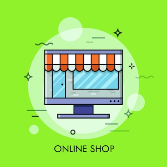 Thin line illustration of online store
