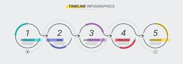 Thin line infographic template with 5 steps.