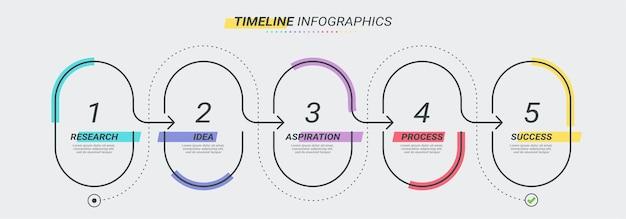 5ステップの細い線のインフォグラフィックテンプレート。