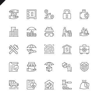 Thin line insurance elements icons set